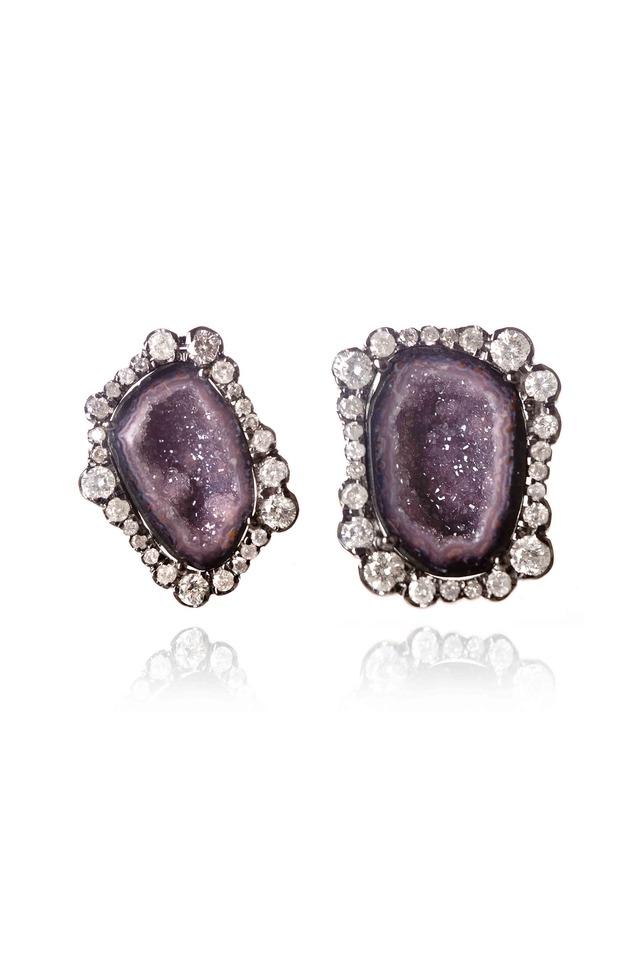 Purple Geode Irregular Diamond Stud Earrings