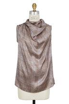 Kiton - Bronze & Gray Silk Draped Sleeveless Blouse