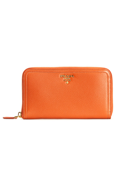 Prada - Orange Leather Logo Zip Wallet