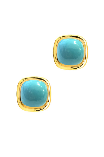 Syna - Yellow Gold Limited Edition Turquoise Earrings