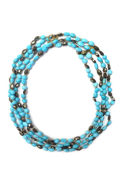 Syna - Limited Edition Gold Turquoise & Pyrite Necklace