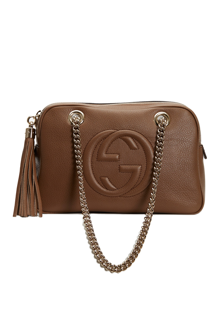 Soho Brown Leather Double Chain Strap Shoulder Bag