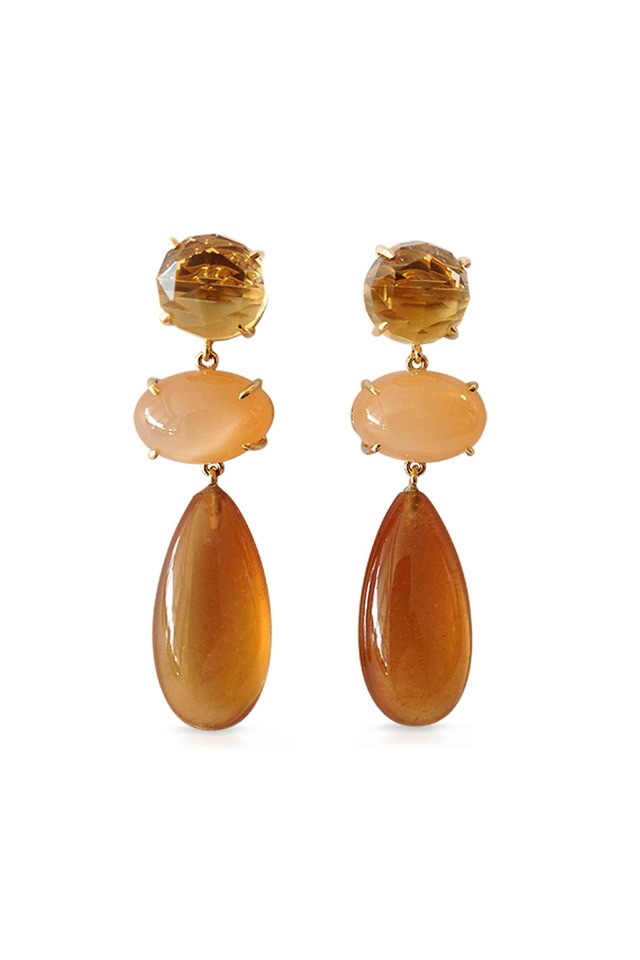 Smokey Topaz And Mother Of Pearl Earrings