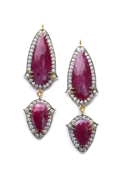 Sylva & Cie - Yellow Gold Ruby Diamond Drop Earrings
