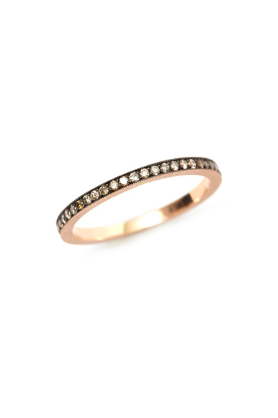 Sylva & Cie - Rose Gold Champagne Diamond Rail Band