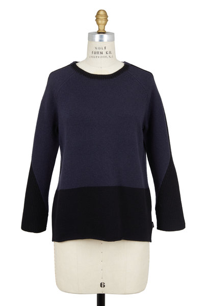 Bogner - Leani Navy Blue & Black Wool Colorblock Sweater