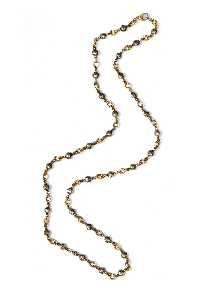 Yellow Gold Hematite Chain Necklace