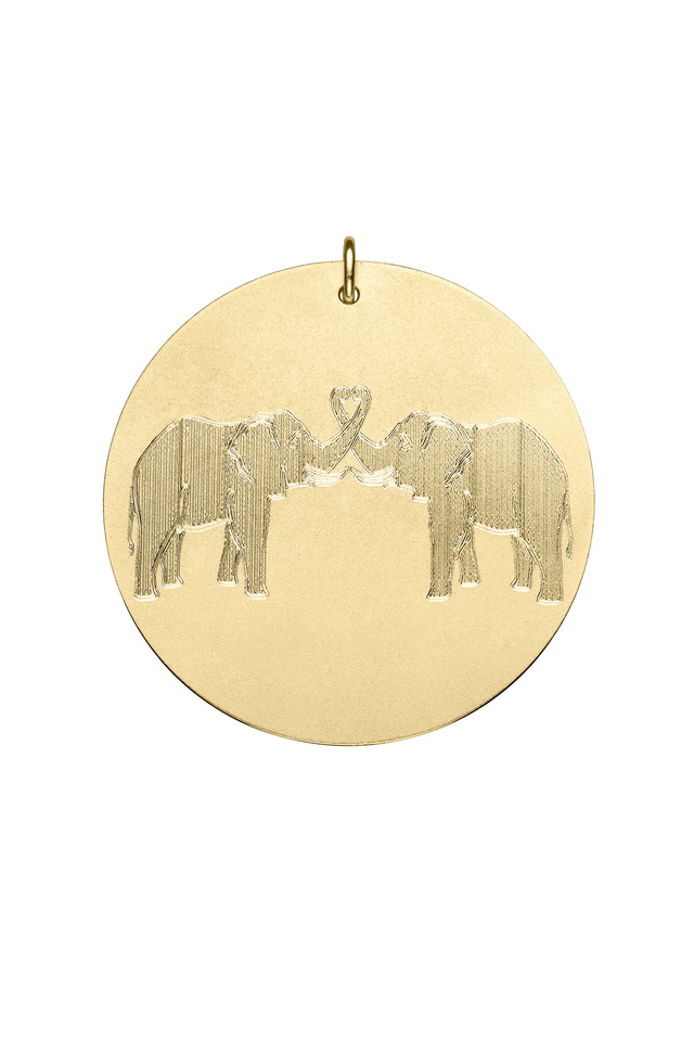 Yellow Gold Two Elephants Charm