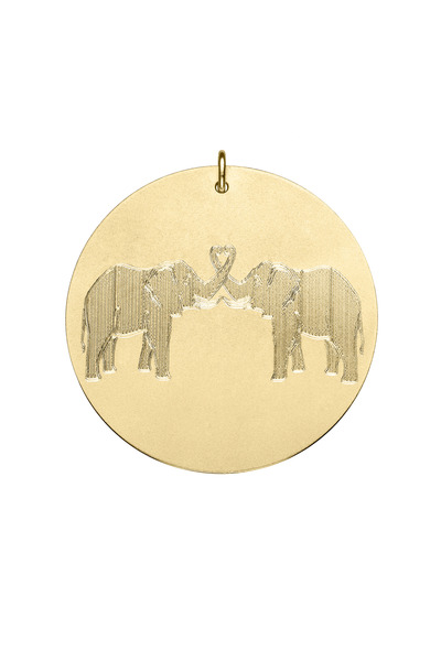 Emily & Ashley - Yellow Gold Two Elephants Charm