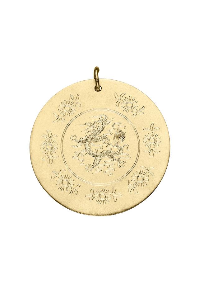 Yellow Gold Dragon Charm Disc