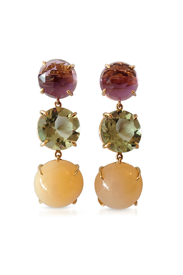 Gold Gemstone Trio Drop Earrings