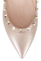 Valentino Garavani - Rockstud Champagne Leather Ballet Flat