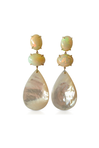 Emily & Ashley - Yellow Gold Fire Opal Dangle Earrings