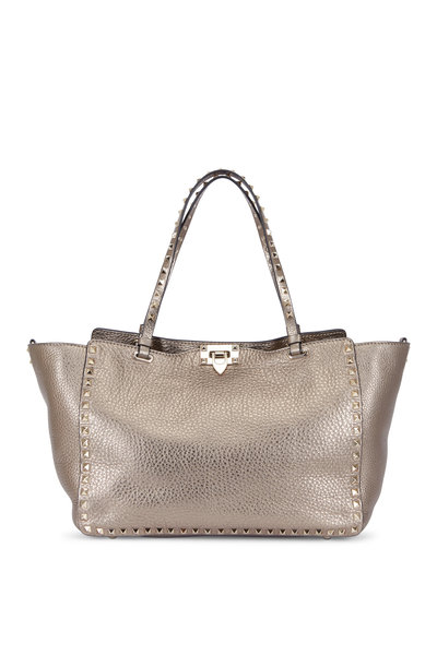 Valentino Garavani - Rockstud Metallic Gunmetal Leather Medium Tote