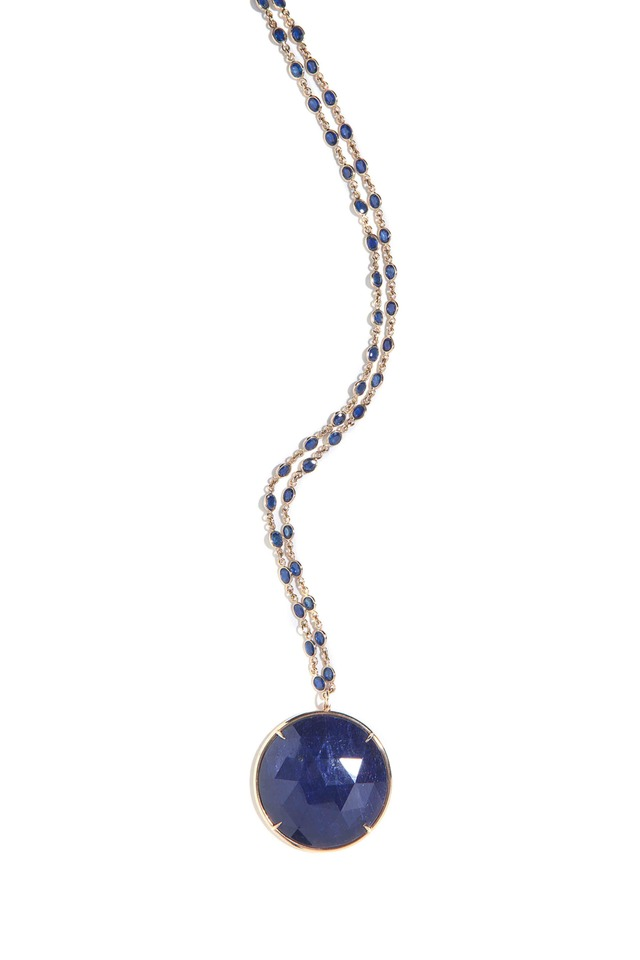 Gold Blue Chalcedony Stone Pendant