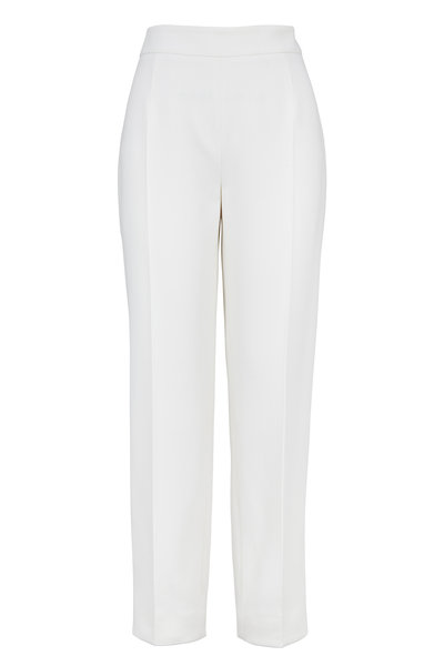 Agnona - Ivory Wool Side Zip Crop Dress Pants