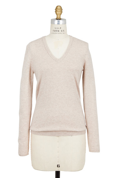 Brunello Cucinelli - Wheat Cashmere Elbow Patch V-Neck Sweater