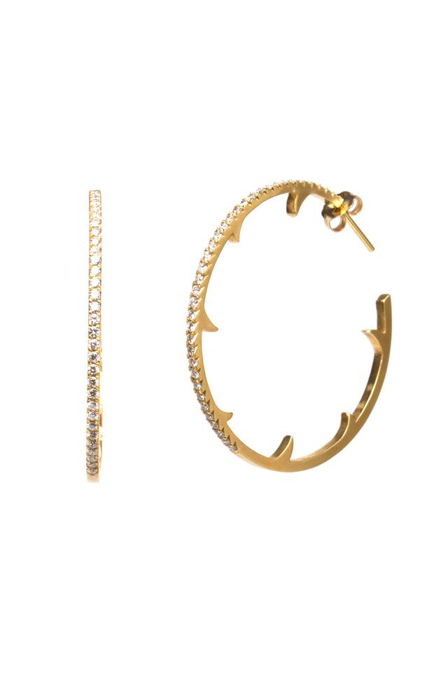Yellow Gold Diamond Thorn Hoops
