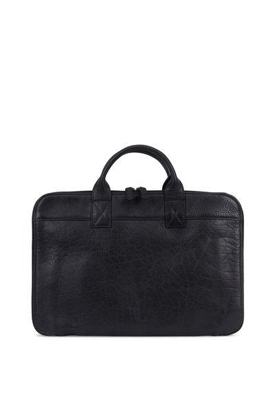 Moore & Giles - Frances Black Milled Leather Slim Portfolio Case