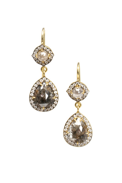 Sylva & Cie - Gold Rough Diamond Drop Earrings