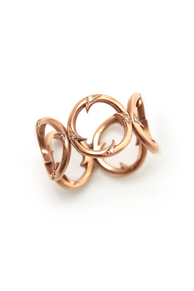 Sylva & Cie - Rose Gold Diamond Circle Thorn Ring