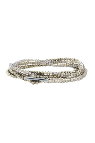 Brunello Cucinelli - Dark Gray Pyrite Wrap Bracelet & Necklace, 3mm