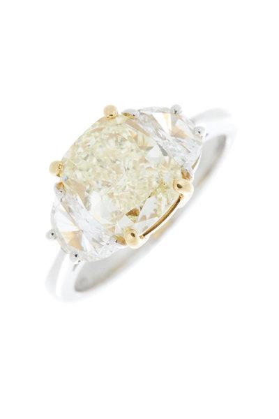 Louis Newman - Platinum Yellow Diamond Bridal Ring