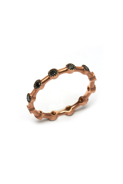 Sylva & Cie - Rose Gold Black Diamond Dot Band