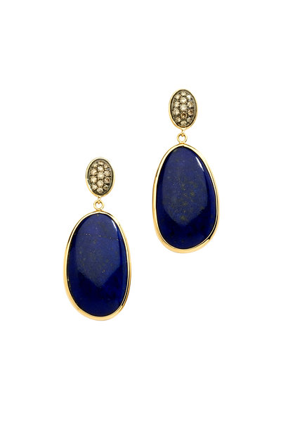 Syna - Cobblestone Gold Lapis Lazuli Diamond Earrings