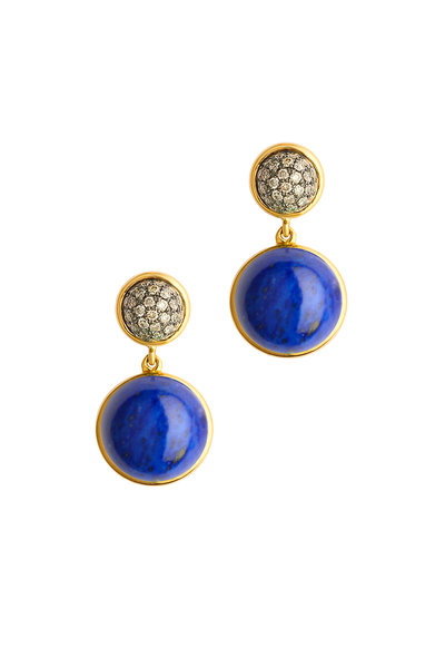 Syna - Baubles Yellow Gold Lapis Lazuli Diamond Earrings