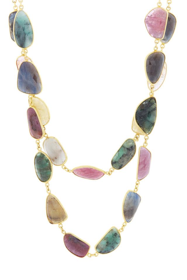 Gold & Silver Multi Sapphire Necklace