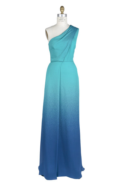 Elie Saab - Green Lagoon & Capri Blue Silk One-Shoulder Gown