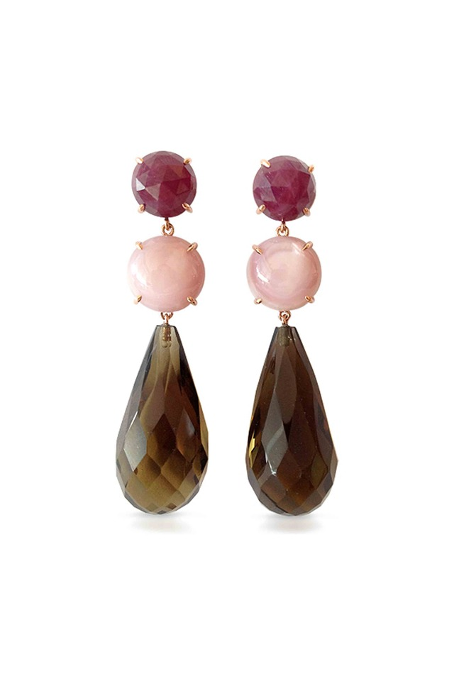 Gold Mother Of Pearl Smokey Topaz & Ruby Earrings