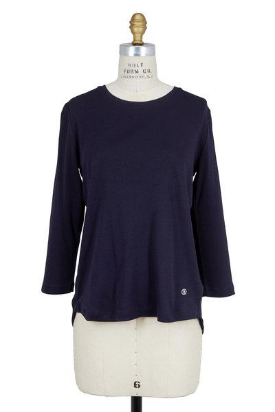Bogner - Annalis Navy Blue Combo Three-Quarter Sleeve Shirt