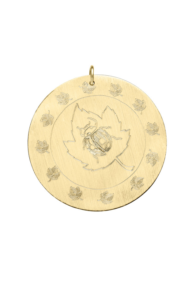 Yellow Gold Engraved Ladybug Charm