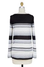 Vince - Black & Gray Engineered Striped T-Shirt