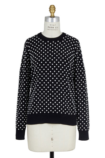 Michael Kors Collection - Black Cashmere Allover Pearl Embroidered Sweater