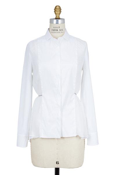 Brunello Cucinelli - White Poplin & Organza Monili Waist Tie Blouse