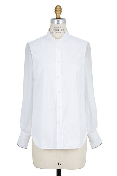 Brunello Cucinelli - White Poplin & Organza Button Down Blouse