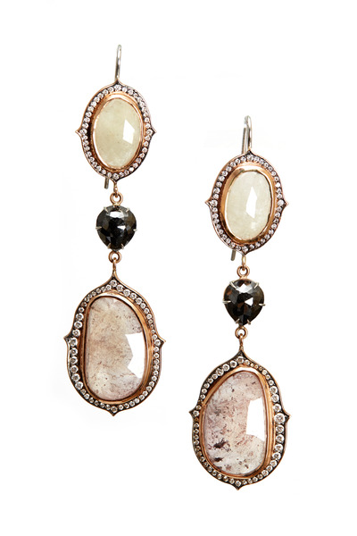 Sylva & Cie - Rose Gold Sapphire Diamond Drop Earrings