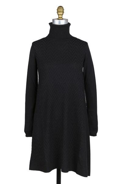 D.Exterior - Black Wool Turtleneck Dress