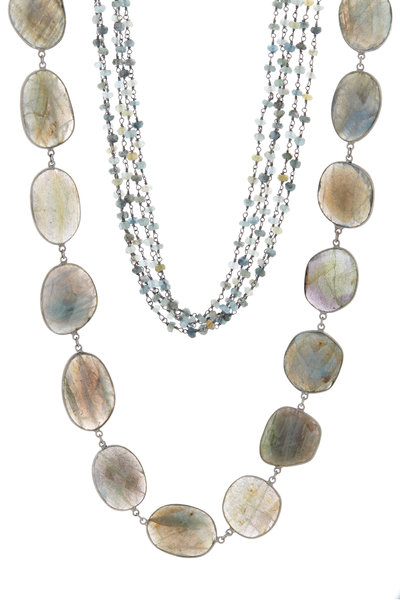 Loriann - Rhodium Silver Labradorite & Aquamarine Necklace