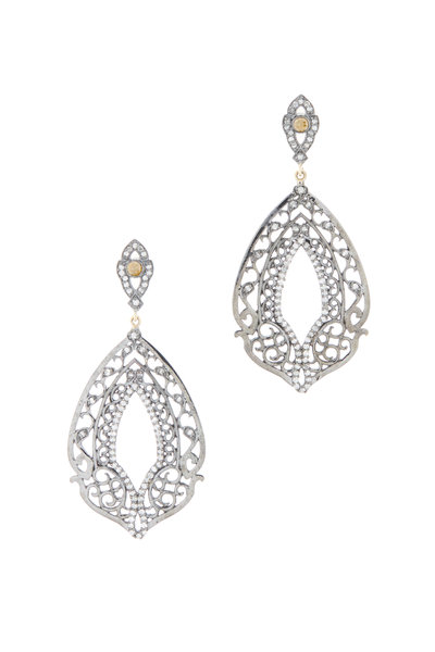 Loriann - Gold & Silver Diamond Lace Earrings