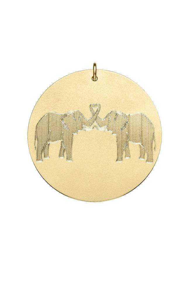Yellow Gold Elephant Charm Pendant