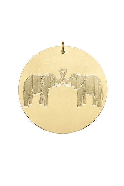 Emily & Ashley - Yellow Gold Elephant Charm Pendant