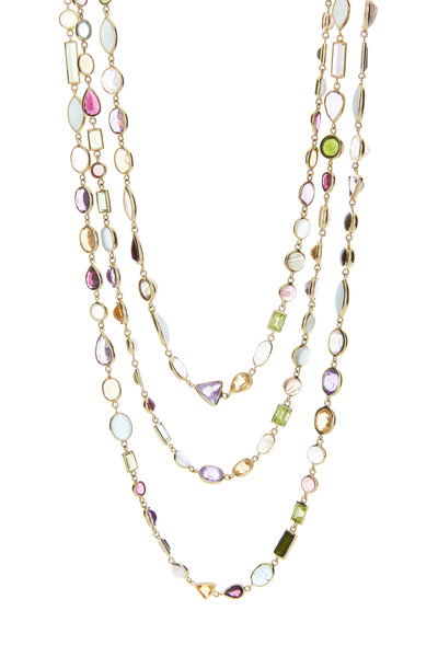 Eclat - Yellow Gold Precious Stones Chain Necklace