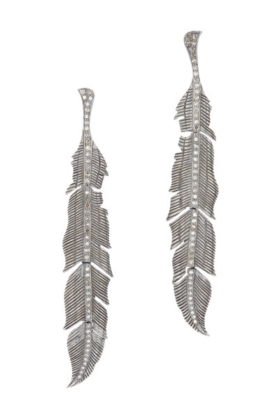Loriann - Gold Black & White Diamond Feather Earrings