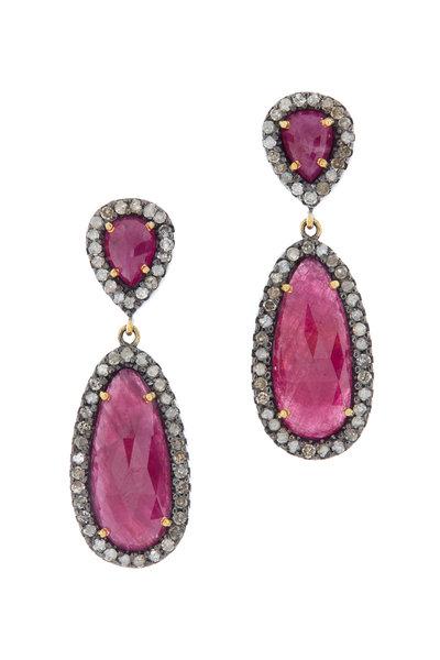 Loriann - Sterling Silver Tourmaline Diamond Drop Earrings
