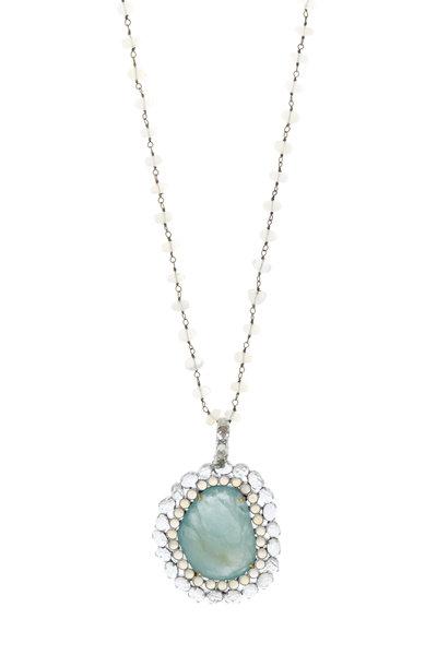 Loriann - Gold Milky Aquamarine & Green Amethyst Necklace