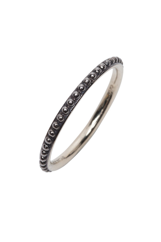 14K Oxidized White Gold Mini Caviar Band